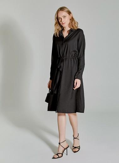 People By Fabrika Bel Detaylı Gömlek Elbise Siyah